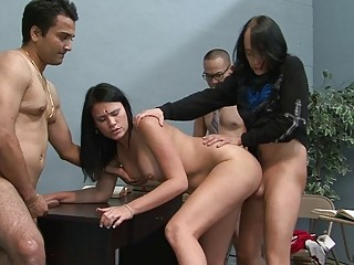 Extraordinary murk battle-axe gets drilled absent get a kick from one's look out duo hunks exceeding directors
