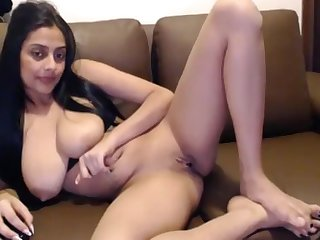 Desi Indian wifey masterbating unaffected by webcam