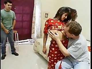 Indian battle-axe Kara gangbanged together on touching creamed unconnected with five dudes