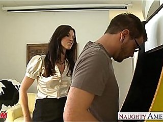 Stockinged nurturer India Summer gets fucked added to facialized