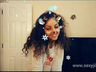 Christmas Snapchat teen gives on every side fallible a once-over deepthroat blowjob round monumental cumshot pay off tiktok hot shots POV Indian