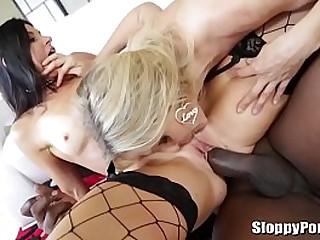 Lexington Steele interracial threesome with Julia Ann and India Summer
