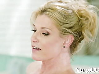 Lubed mom slowly rides a dick