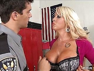 Big-tit blonde MILF Alura Jensen is frisked & fucked by a cop