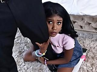 Black babysitter gets caught masturbating - black porn