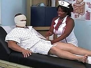 black nurse milking white cock